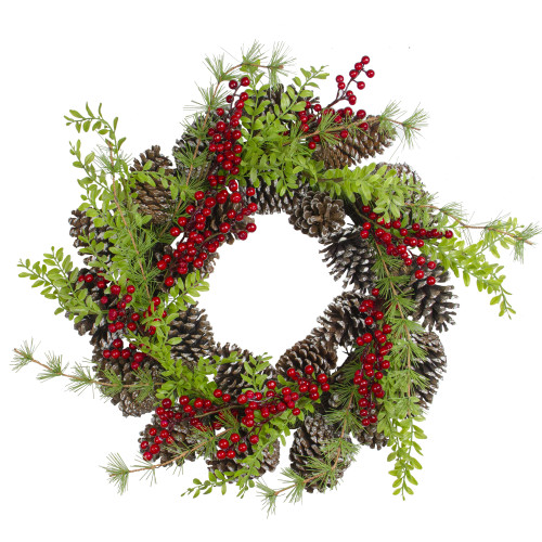 Frosted Pine Cones and Berries Artificial Christmas Wreath - 18-Inch, Unlit - IMAGE 1