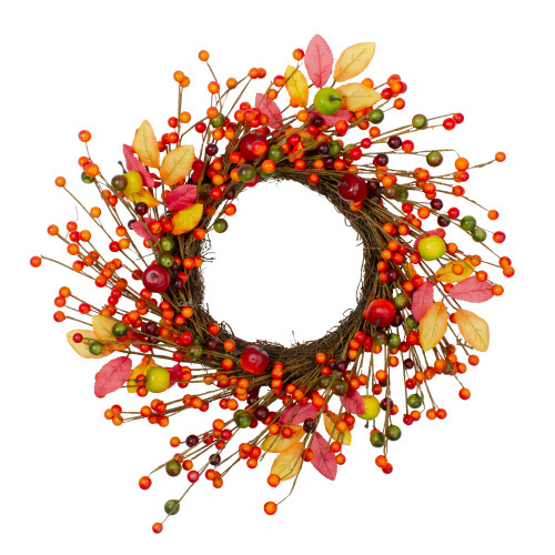 Berries and Apples Foliage Twig Artificial Thanksgiving Wreath - 18-Inch, Unlit - IMAGE 1