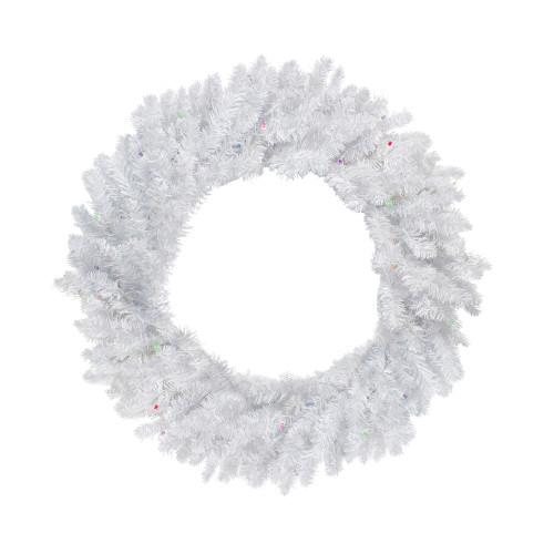 "30"" Pre-Lit LED Snow White Christmas Wreath - Multicolor Lights - IMAGE 1"