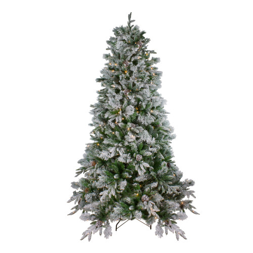7.5' Pre-Lit Medium Flocked Mixed Colorado Pine Artificial Christmas Tree - Warm White LED Lights - IMAGE 1