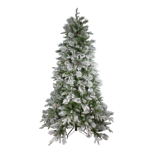 7.5' Flocked Rosemary Emerald Angel Pine Artificial Christmas Tree - Unlit - IMAGE 1