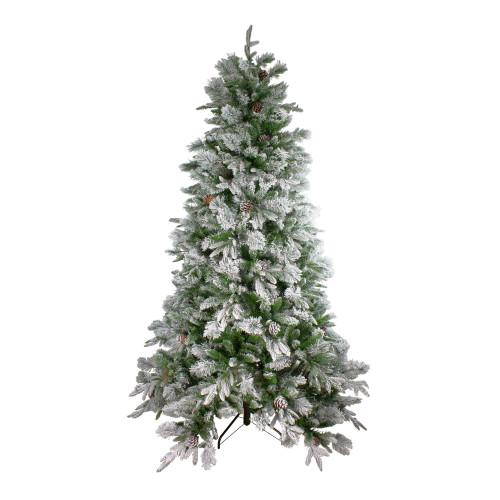 6.5' Flocked Rosemary Emerald Angel Pine Artificial Christmas Tree - Unlit - IMAGE 1
