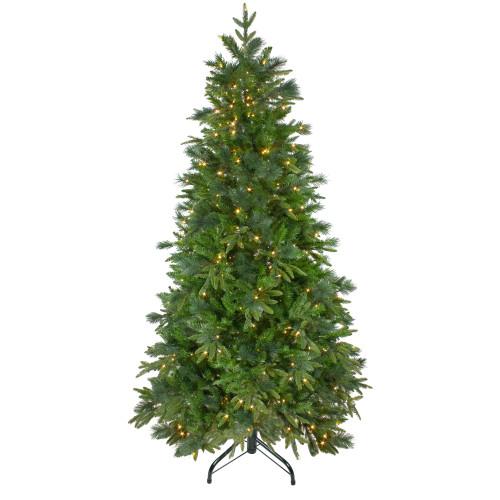 7.5' Pre-Lit Rosemary Emerald Angel Pine Artificial Christmas Tree - Warm White LED Lights - IMAGE 1
