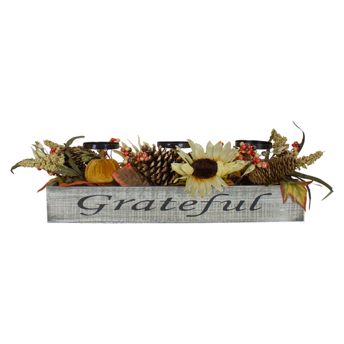 "26"" Autumn Harvest Sunflower 3-Piece Candle Holder in a ""Grateful"" Rustic Wooden Box Centerpiece - IMAGE 1"
