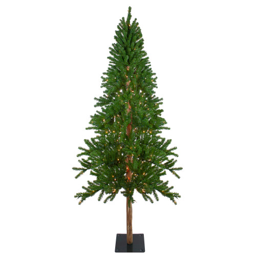 7' Pre-Lit Alpine Artificial Christmas Tree - Clear Lights - IMAGE 1