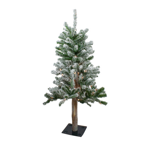 3' Pre-Lit Flocked Alpine Artificial Christmas Tree - Clear Lights - IMAGE 1