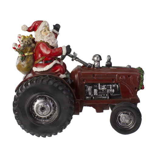 """11"""" Rustic Santa Claus on Tractor Tabletop Christmas Figure - IMAGE 1"""