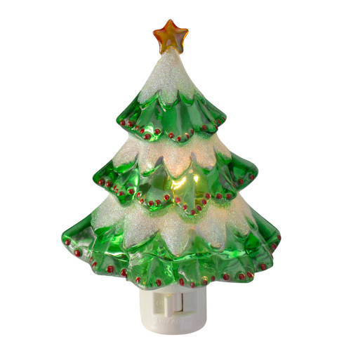 """5.5"""" Green and White Beaded Frosted Christmas Tree Night Light - IMAGE 1"""