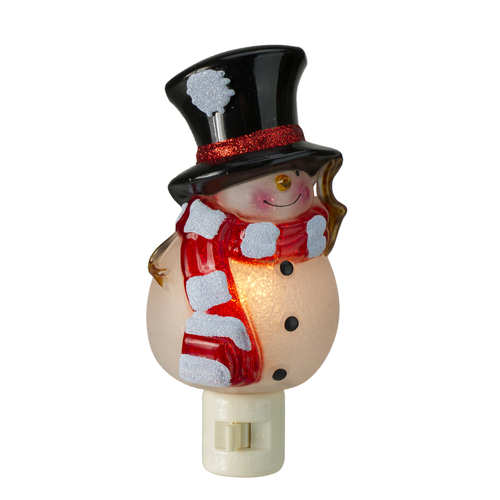 """6"""" Beaded Snowman with Top Hat Christmas Night Light - IMAGE 1"""
