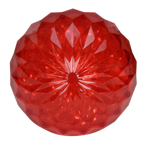 """6"""" LED Lighted Red Hanging Crystal Sphere Ball Outdoor Christmas Decoration - IMAGE 1"""