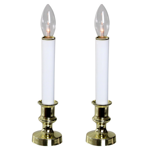 "Set of 2 White and Gold Christmas Candle Lamps 9"" - IMAGE 1"