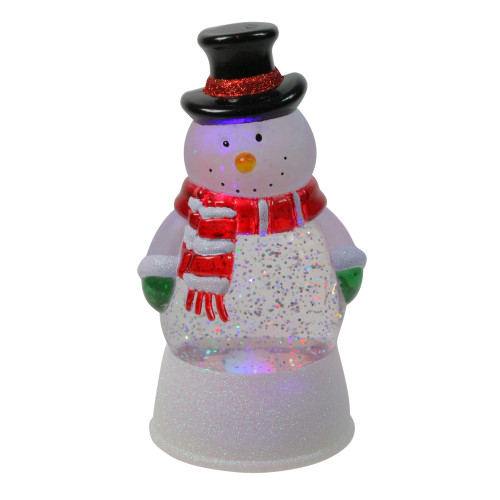 LED Lighted Color Changing Snowman Christmas Glittering Snow Dome 7.5 Inch - IMAGE 1