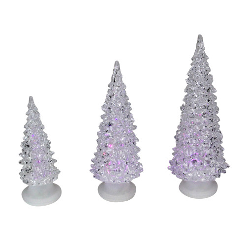 Set of 3 Color Changing LED Lighted Christmas Trees - IMAGE 1