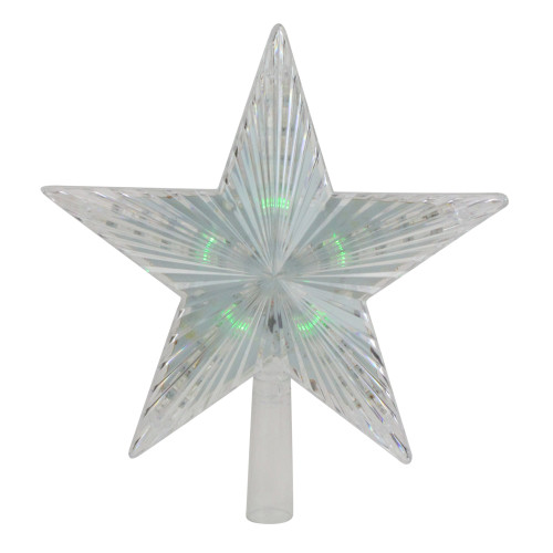 """9"""" Pre-Lit Clear Crystal Star Christmas Tree Topper - Multicolor LED Lights - IMAGE 1"""