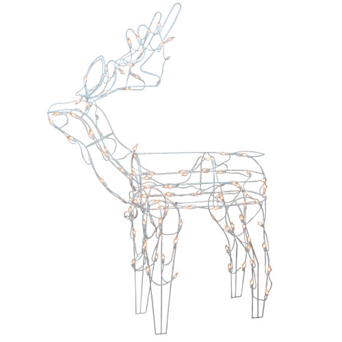 "48"" Pre-Lit Clear Standing Reindeer Christmas Outdoor Decor - IMAGE 1"