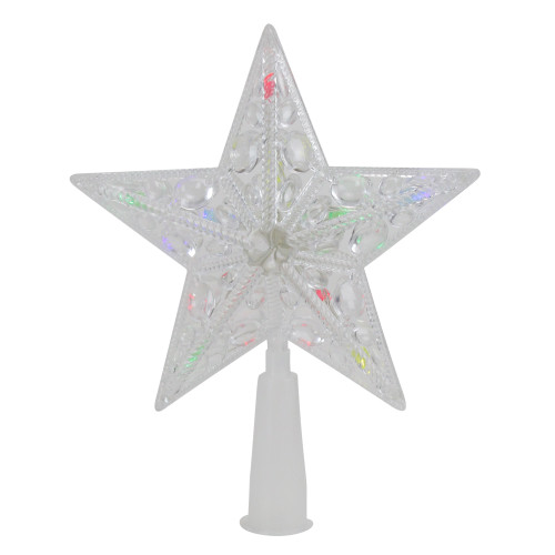 """6"""" Pre-Lit Clear Crystal Jeweled Star Christmas Tree Topper - Multicolor Lights - IMAGE 1"""
