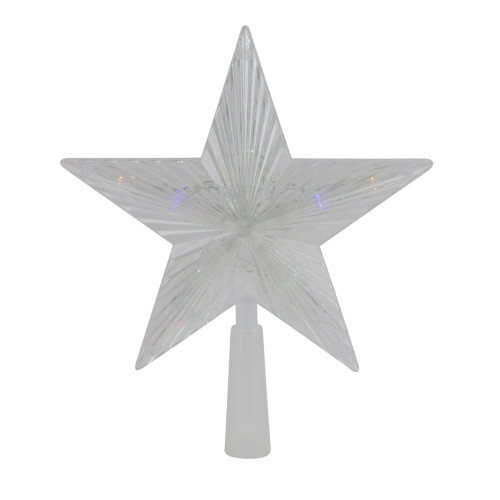 """8"""" Pre-Lit Clear Crystal Star Christmas Tree Topper - Multicolor LED Lights - IMAGE 1"""