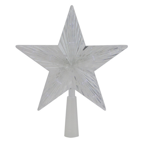 """10"""" Pre-Lit Clear Crystal Star Christmas Tree Topper - Clear LED Lights - IMAGE 1"""