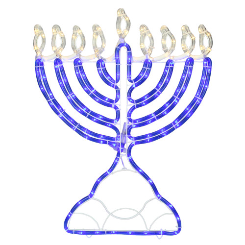 150 Clear and Blue LED Hanukkah Menorah Rope Lights - 1.4 ft White Wire - IMAGE 1