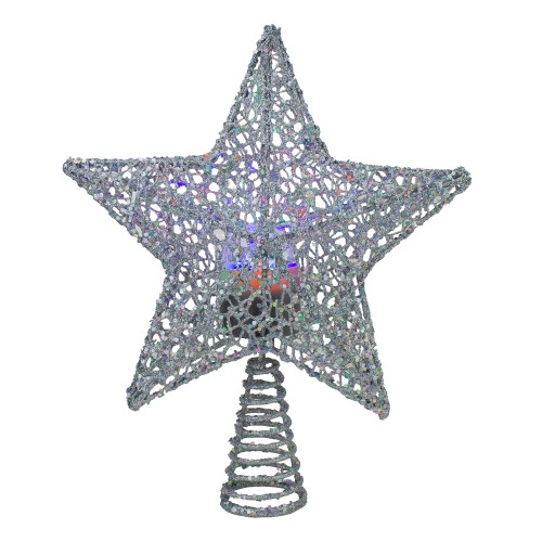 """13"""" Lighted Silver Star with Rotating Projector Christmas Tree Topper - Multicolor LED Lights - IMAGE 1"""
