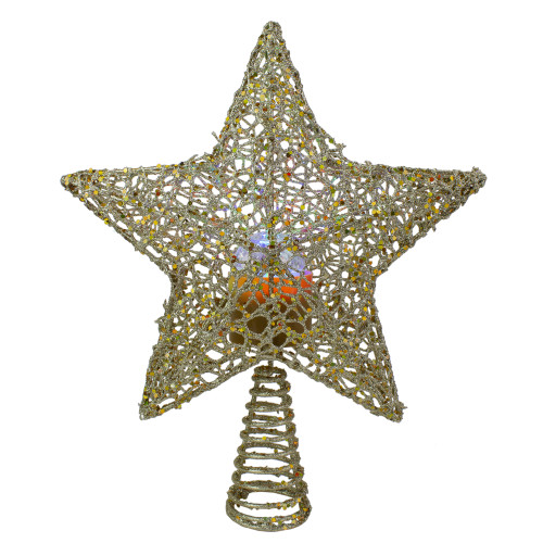 """13"""" Lighted Gold Star with Rotating Projector Christmas Tree Topper - Multicolor LED lights - IMAGE 1"""