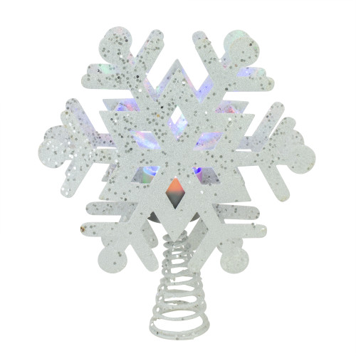 """12"""" Lighted White Snowflake Christmas Tree Topper - Multicolor Lights - IMAGE 1"""