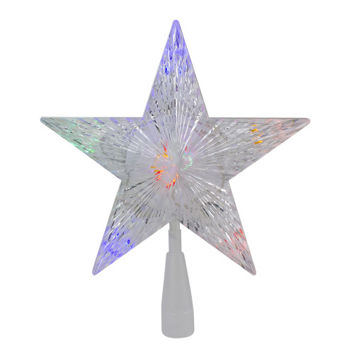 """10"""" Lighted White 5 Point Star Christmas Tree Topper - Multicolor LED Lights - IMAGE 1"""