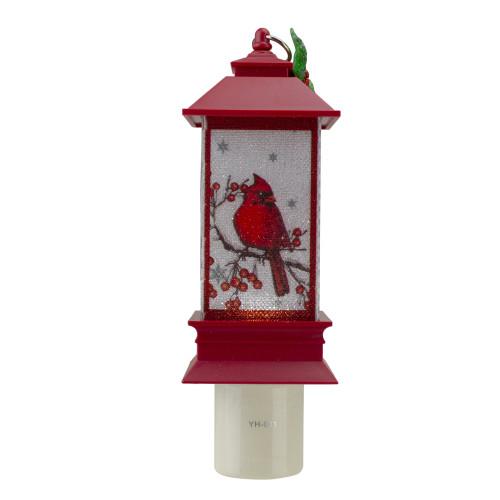 """6"""" Red Cardinal Holly Christmas Lantern Night Light - IMAGE 1"""