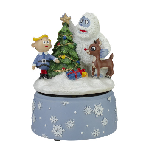 """6"""" Rudolph and Friends Rotating Music Player Christmas Windup Figurine - IMAGE 1"""