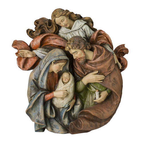 """14"""" Brown Holy Family with Angel Christmas Wall Bust - IMAGE 1"""