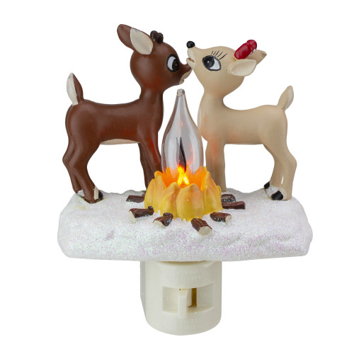 """5"""" Rudolph and Clarice By Fire Christmas Nightlight - IMAGE 1"""