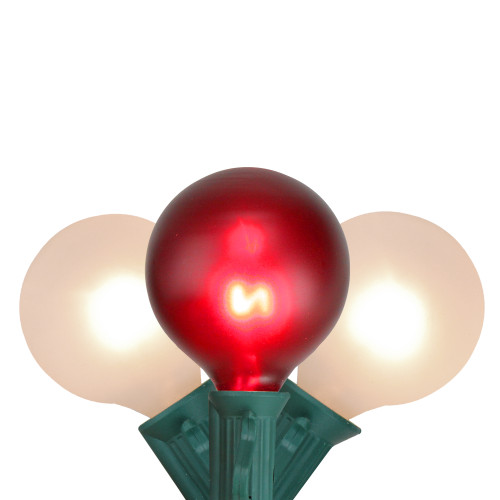 10-Count Red and White G50 Globe Christmas Light Set, 9ft Green Wire - IMAGE 1