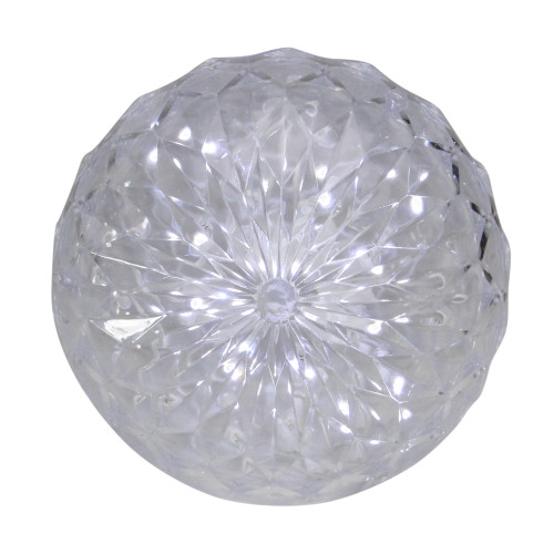 """6"""" Clear LED Hanging Christmas Crystal Sphere Decor - IMAGE 1"""