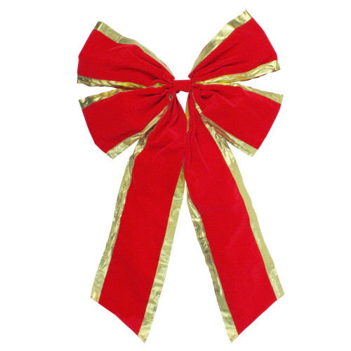 """18"""" x 30"""" Red 4-Loop Velveteen Christmas Bow with Gold Trim - IMAGE 1"""