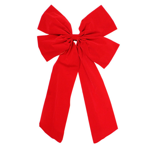 """18"""" x 30"""" Red 4-Loop Velveteen Christmas Bow Decoration - IMAGE 1"""