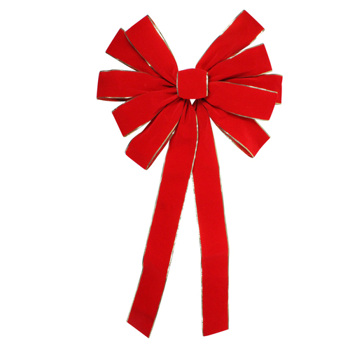 "24"" x 42"" Large Red 11-Loop Velveteen Christmas Bow with Gold Trim - IMAGE 1"