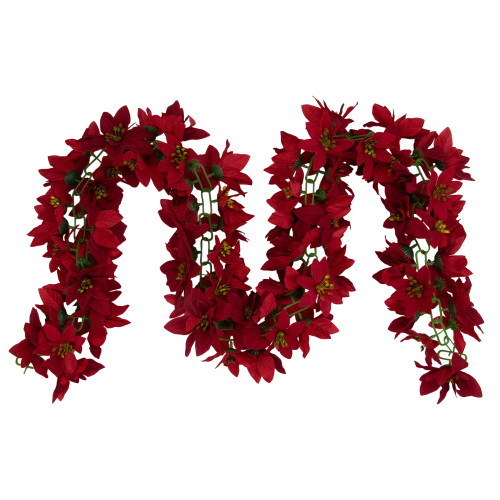 """6' x 3"""" Red Artificial Poinsettia Floral Christmas Garland - Unlit - IMAGE 1"""