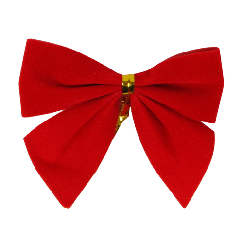"""Pack of 14 Red Mini Velveteen Christmas Bow Decorations 3"""" - IMAGE 1"""