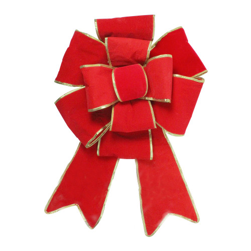 """26"""" x 40"""" Giant Red 3D 11-Loop Velveteen Christmas Bow with Gold Trim - IMAGE 1"""