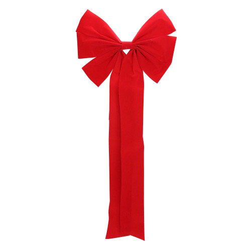 """12"""" x 25"""" Red 6-Loop Velveteen Christmas Bow Decoration - IMAGE 1"""