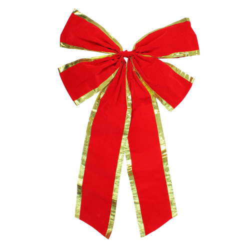 """24"""" x 38"""" Red 4-Loop Velveteen Christmas Bow with Gold Trim - IMAGE 1"""
