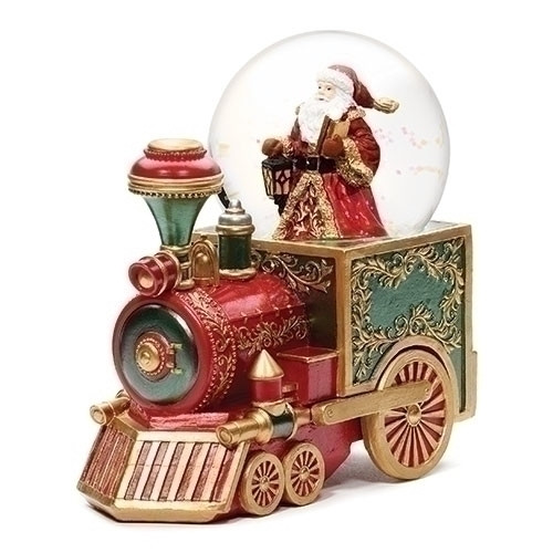 """7.5"""" Red Green and Gold Musical Santa Christmas Train Glitterdome - IMAGE 1"""
