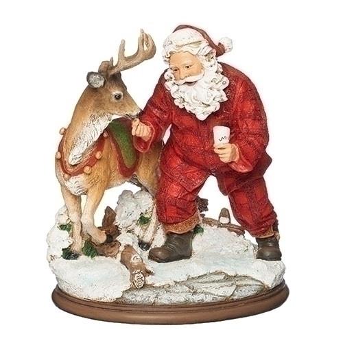 """8.5"""" Santa Feeding Deer Milk and Cookies Resin Christmas Figurine - IMAGE 1"""