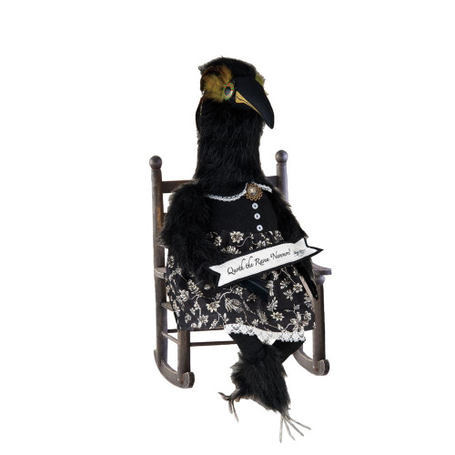 """27"""" Black and White Lenore """"Nevermore"""" Raven with Banner Halloween Table Top Decoration - IMAGE 1"""