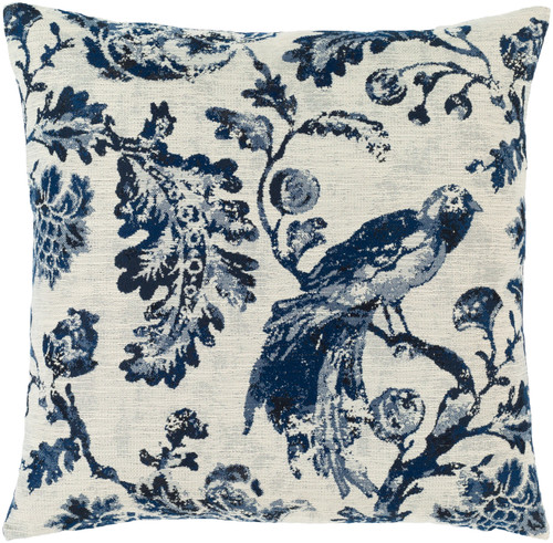"""18"""" Blue and White Bird on Branch Printed Square Throw Pillow - Down Filled - IMAGE 1"""