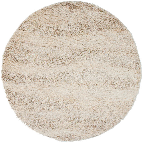 10' Solid Cream White Round New Zealand Wool Area Throw Rug - IMAGE 1