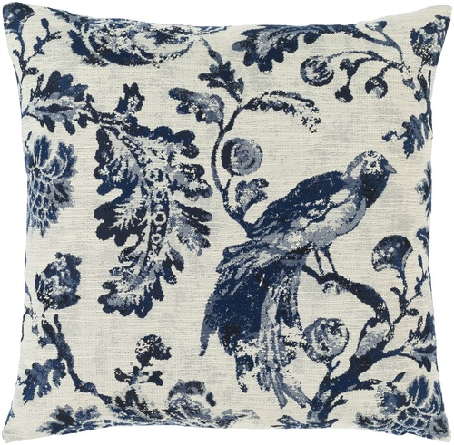"""18"""" Blue and White Peacock Square Throw Pillow with Knife Edge - Poly Filled - IMAGE 1"""