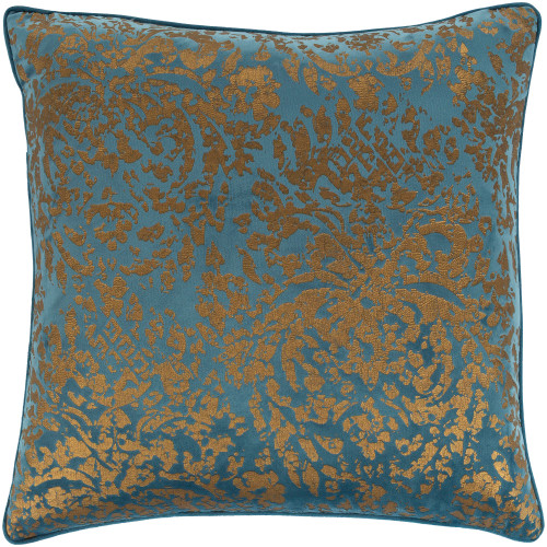 """18"""" Blue and Gold Textured Woven Square Throw Pillow - Polyester Filler - IMAGE 1"""
