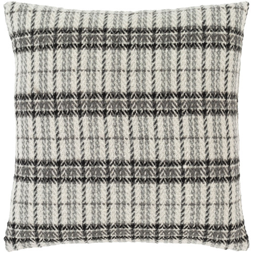 """22"""" Gray and White Herringbone Pattern Square Throw Pillow Cover - IMAGE 1"""