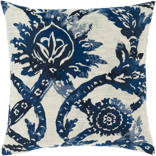"20"" Blue and Ivory Floral Design Square Throw Pillow with Down Filler - IMAGE 1"